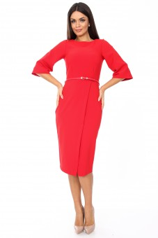 Rochie rosie, eleganta pana la genunchi cu slit pe mijloc