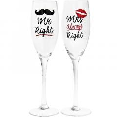 Set pahare pentru sampanie - Mr and Mrs Right