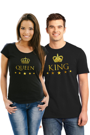 Set de 2 Tricouri negre cuplu King M   Queen S