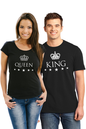Set de 2 Tricouri negre cuplu King M   Queen L