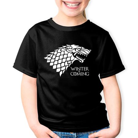 Tricou Copii Game of Thrones Winter is Coming, negru, 7-8 ani, 128 cm