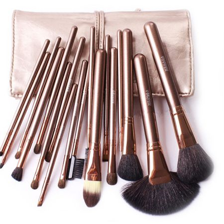 Set 18 pensule machiaj Cosmetic Par Natural- Make-up Profesional Gold  Trusa 12 Nuante Fard Pleoape