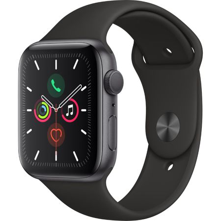 Apple Watch 5, GPS, Carcasa Space Grey Aluminium 44mm, Black Sport Band