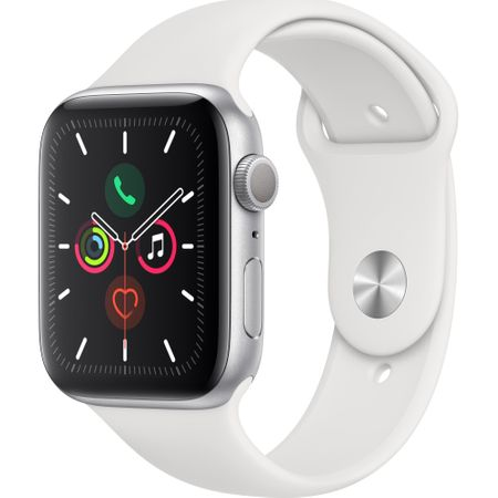 Apple Watch 5, GPS, Carcasa Silver Aluminium 44mm, White Sport Band