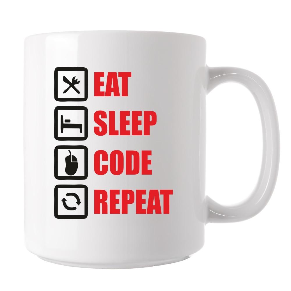 Cana personalizata, Ceramica, cu mesaj motivational, eat, sleep, code, repeat, sala si sport, pentru cafea, ceai sau cadou, pentru ea si el, Alba, 325 ml