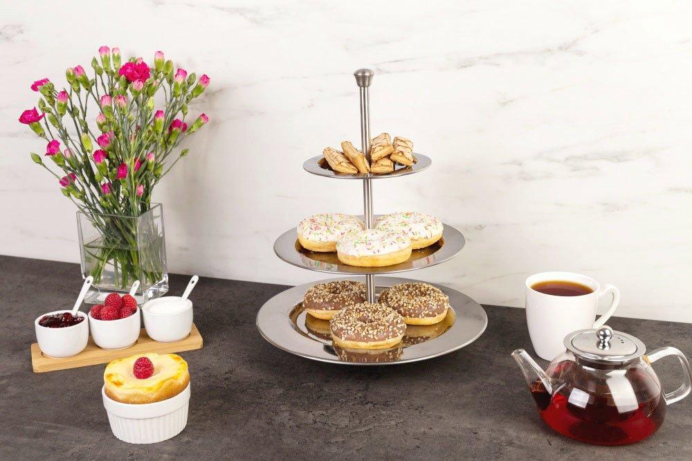 Etajere Pentru Prăjituri Sau Fructe - Din Sticlă, Porțelan, Inox